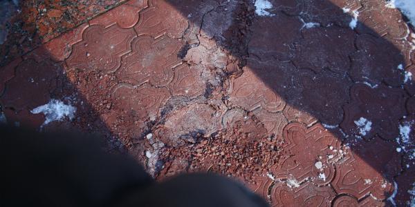 В парке Воинов-Интернационалистов «нещадно» посыпалась тротуарная плитка