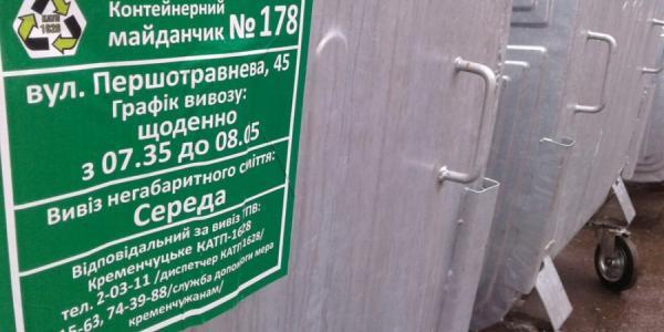 Кременчугские мусорки промаркируют