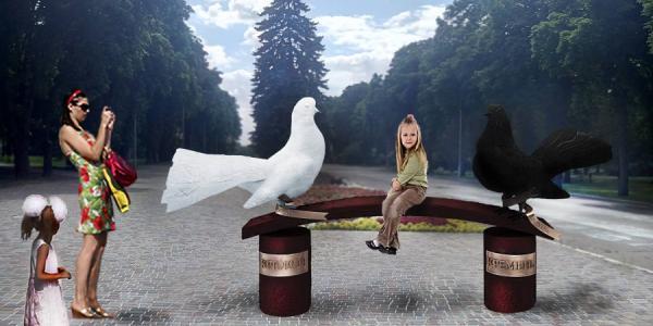 Кременчужанам предлагают выбрать лучшую скульптуру голубей
