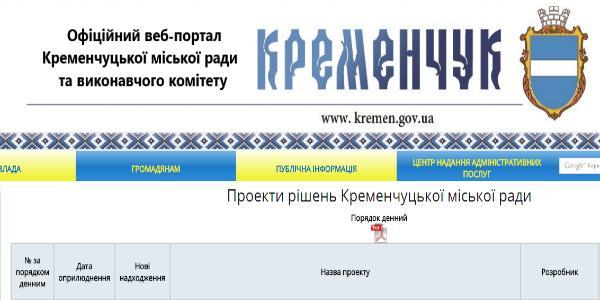 Игра в прятки: на сайте Кременчугского горсовета то появляются, то исчезают проекты решений сессии