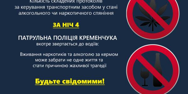 В Кременчуге ночью поймали пьяных и наркоманов за рулем