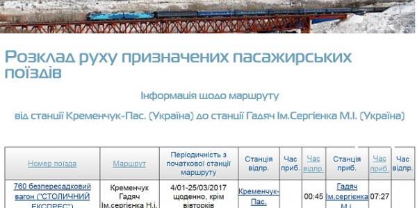 Восстановлено движение пассажирского поезда Кременчуг-Гадяч