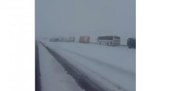 Под Полтавой в снегу застряли десятки машин