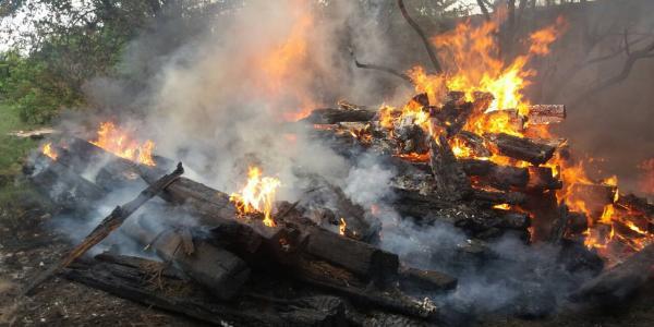 В Кременчуге горели шпалы