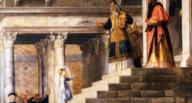 По Преданию трехлетняя Мария пришла в храм чтобы посвятить себя Богу